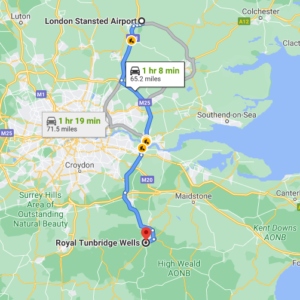 Stansted to  Tunbridge Wells